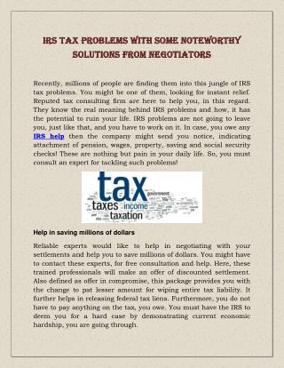 IRS Tax Problems With Some Noteworthy Solutions From Negotiators