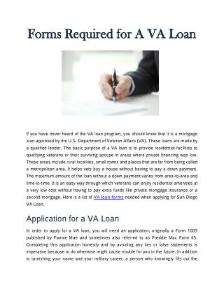 Forms Required for A VA Loan
