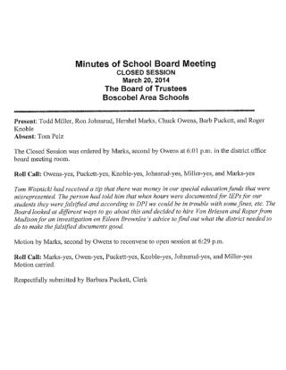 Thomas Woznicki and Boscobel, Wisconsin School Board Minutes