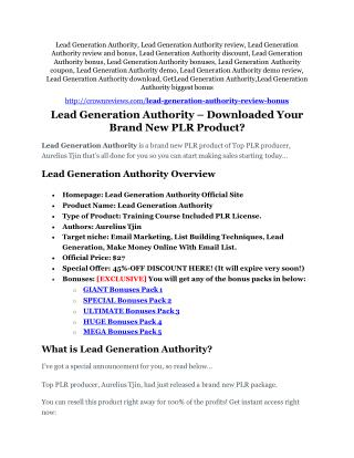 Lead Generation Authority Review & Lead Generation Authority $16,700 bonuses