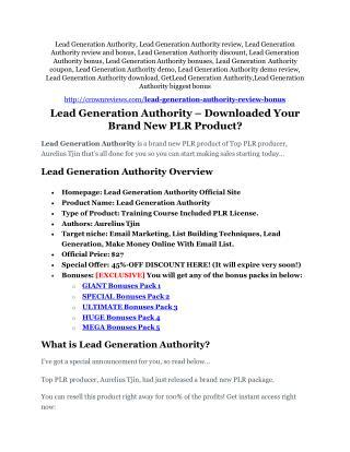 Lead Generation Authority Review & Lead Generation Authority $16,700 bonuses
