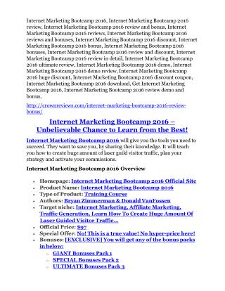 Internet Marketing Bootcamp 2016 review- Internet Marketing Bootcamp 2016 $27,300 bonus & discount