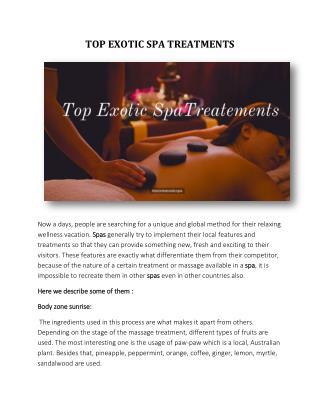 TOP EXOTIC SPA TREATMENTS