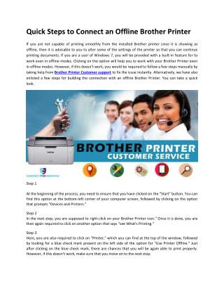 Quick Steps to Connect an Offline Brother Printer