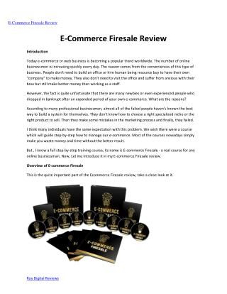 E-commerce Firesale review -  Why you should buy it?