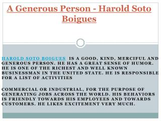 A Generous Person - Harold Soto Boigues