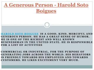 A Generous Person - Harold Soto Boigues