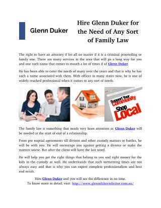Hire Glenn Duker for the Need of Any Sort of Family Law