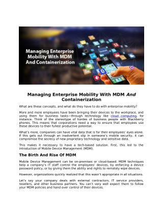 Managing Enterprise Mobility With MDM And Containerization