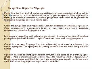 Garage Door Repair For All people