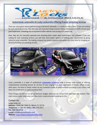 Automotive Locksmiths At Lucky Locksmiths Offering Precise Unlocking Services