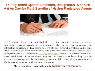 TX Registered Agents: Definition, Designation, Who Can Act As One for Me & Benefits of Having Registered Agents