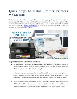 Quick Steps to Install Brother Printers via CD ROM