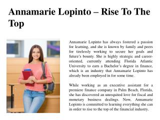 Annamarie Lopinto – Rise To The Top