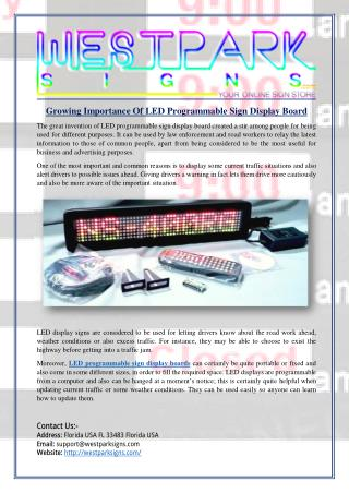 Growing Importance Of LED Programmable Sign Display Board