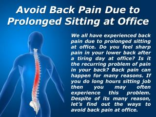 Avoid Back Pain Due to Sitting at Office | Areyo Dadar