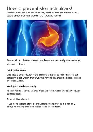 How to prevent stomach ulcers!
