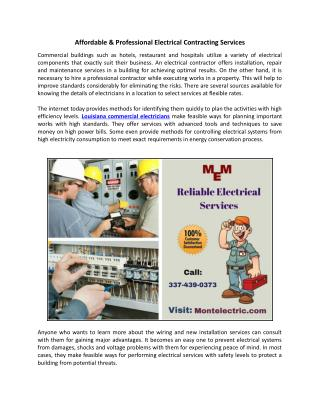 Affordable & Professional Electrical Contracting Services