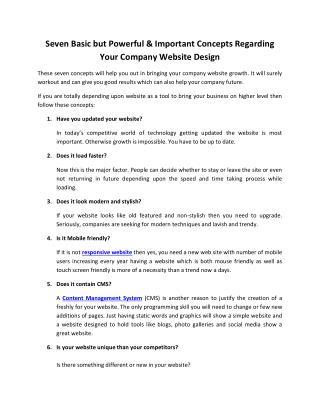 Seven Basic Concepts Regarding Your Company Website Design