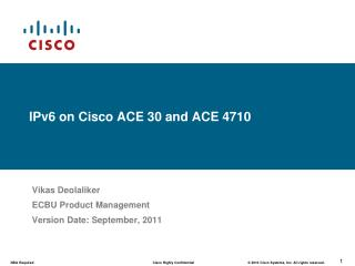 IPv6 on Cisco ACE 30 and ACE 4710