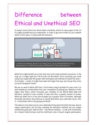 Difference between Ethical and Unethical SEO