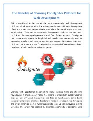 The Benefits of Choosing CodeIgniter Platform for Web Development