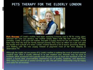 Pets Therapy for the Elderly London