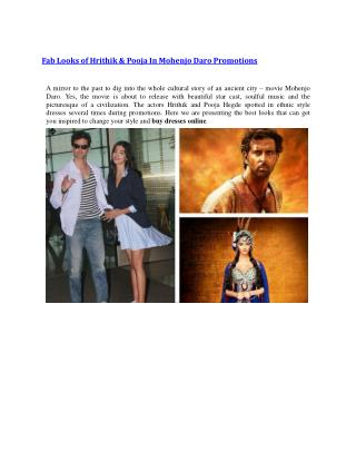 Fab Looks of Hrithik & Pooja In Mohenjo Daro Promotions