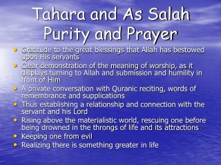Tahara and As Salah Purity and Prayer