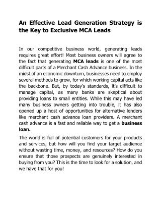 An Effective Lead Generation Strategy is the Key to Exclusive MCA Leads