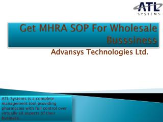 Get MHRA SOP For Wholesale Busssiness