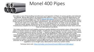 Monel 400 Pipes