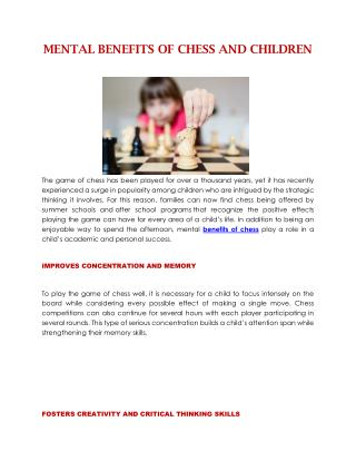 MENTAL BENEFITS OF CHESS AND CHILDREN