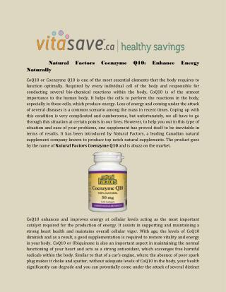 Natural Factors Coenzyme Q10: Enhance Energy Naturally