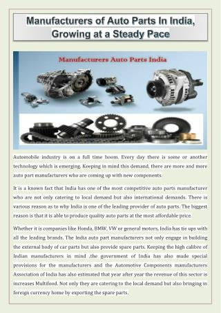 Manufacturers of Auto Parts In India, Growing at a Steady Pace