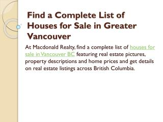 Find a Complete List of Houses for Sale in Greater Vancouver