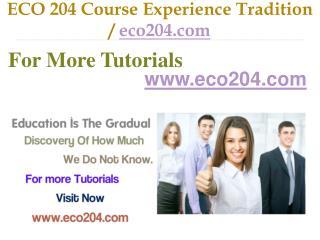 ECO 204 Course Experience Tradition / eco204.com