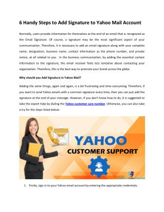 6 Handy Steps to Add Signature to Yahoo Mail Account