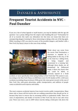 Frequent Tourist Accidents in NYC - Paul Dansker