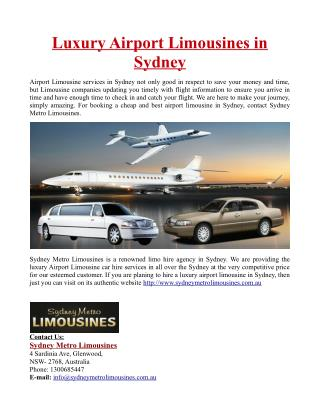 Luxury Airport Limousines in Sydney