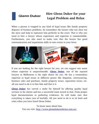 Hire Glenn Duker for your Legal Problem and Relax