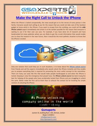 Make the Right Call to Unlock the IPhone