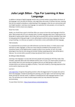 Julia Leigh Sitton - Tips For Learning A New Language