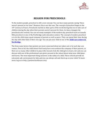 Reason For Preschools