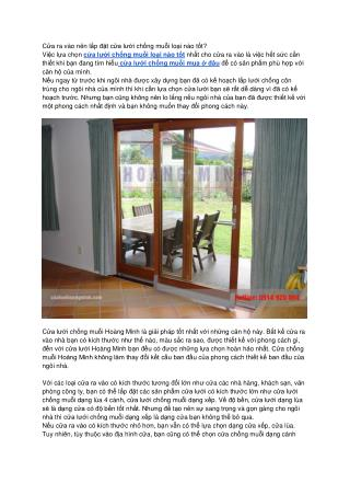 Hé lộ cách lựa chọn cửa lưới chống muỗi cho cửa ra vào