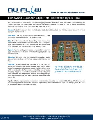 Renowned European-Style Hotel Retrofitted By Nu Flow
