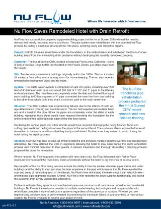 Nu Flow Saves Remodeled Hotel with Drain Retrofit