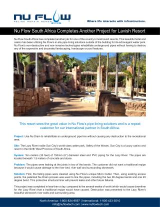 Nu Flow South Africa Completes Another Project for Lavish Resort