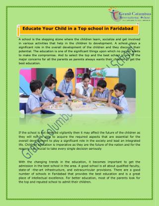 Educate Your Child in a Top school in Faridabad