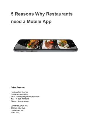 5 Reasons why any Restaurant need a Mobile On-Demand App today!